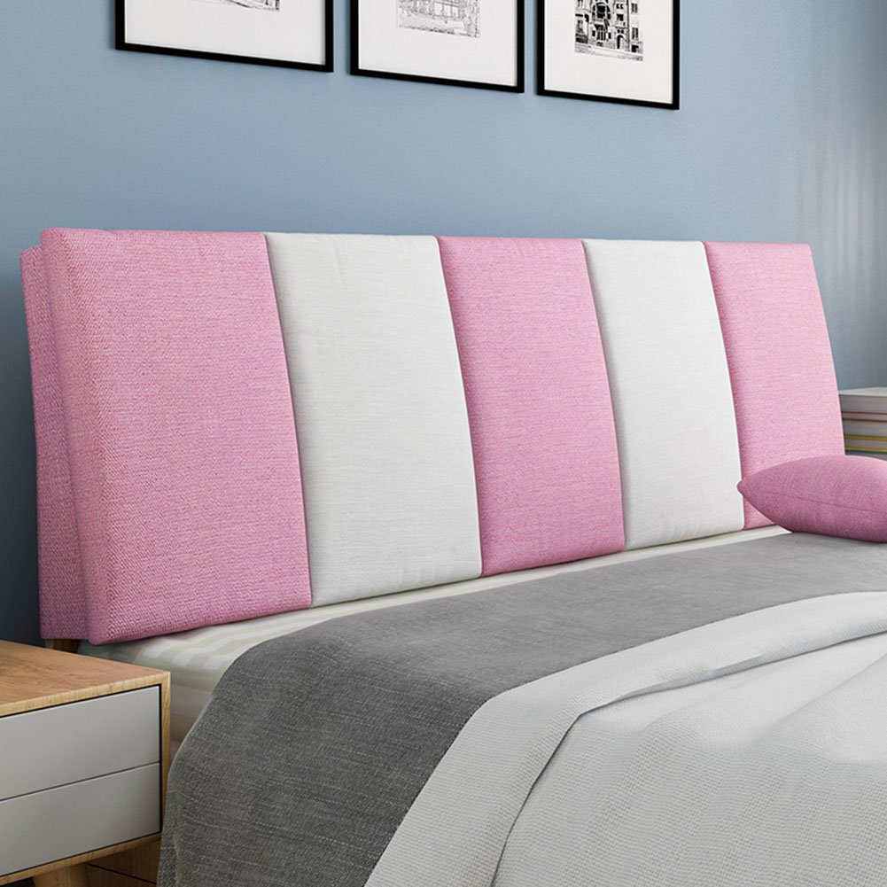 QIANGDA Backrest Cushion Flax Lumbar Support Bedside Soft Mat Waist Protection For Single/double Bedroom, 8 Stripe Colors, 7 Sizes Available (Color : 8#, Size : 120 x 5 x 55cm)