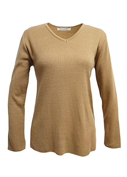 864393bbf621 SEOULSTORY7 Women s Winter Fall Unbalanced V-Neck Long Sleeve Knit Sweater  PulloverBeige Small at Amazon Women s Clothing store