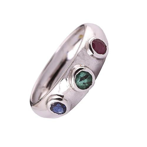 neerupam Collection 925 plata de ley Natural Esmeralda rubí zafiro - anillo para las mujeres y las niñas: Amazon.es: Joyería
