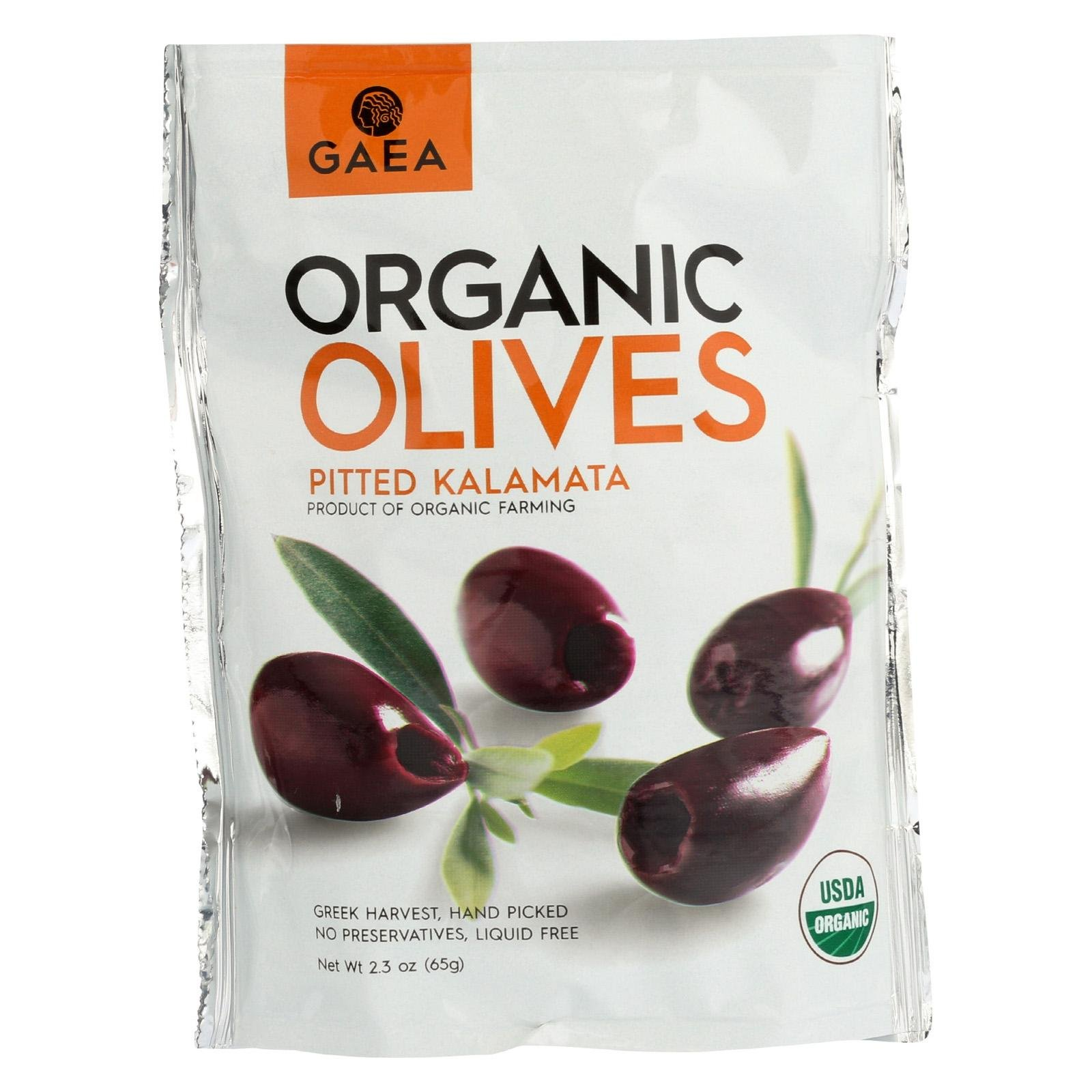 Gaea Organic Snack Pack Pitted Kalamata Olives with Sea Salt and Vinegar - 2.3 oz (Pack of 8)