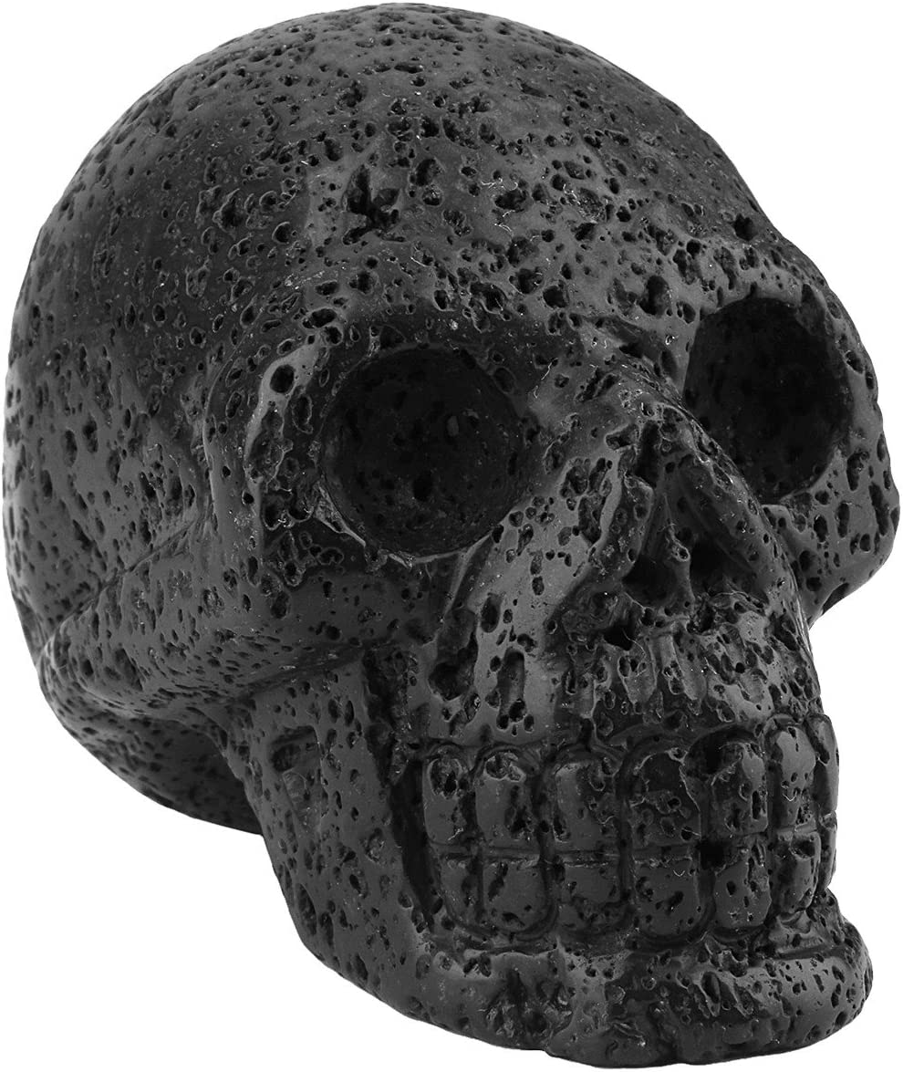 rockcloud Healing Crystal Stone Human Reiki Skull Figurine Statue Sculptures Lava Rock 3