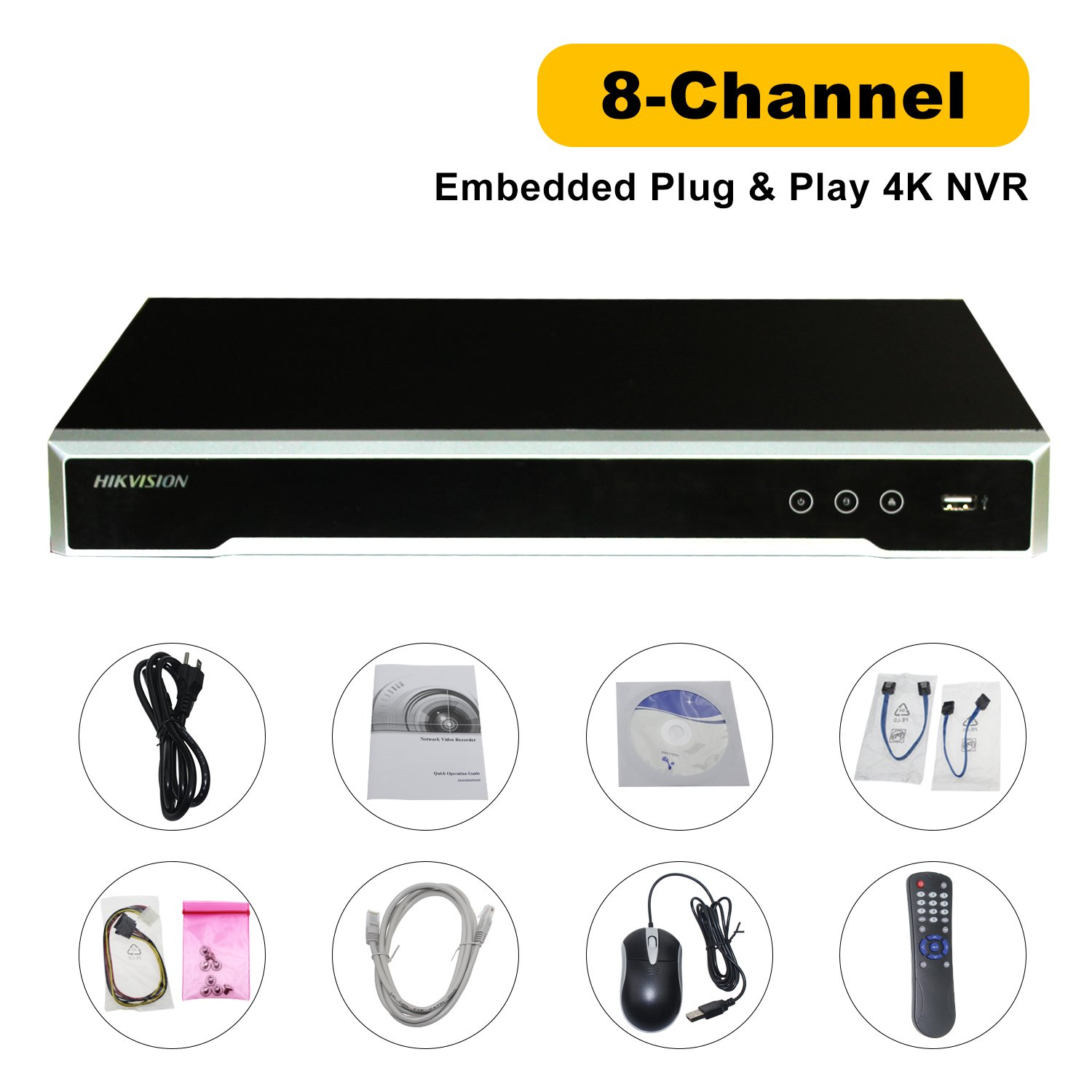Hikvision NVR 4K POE 8 Channel Embedded Plug&Play Network Video Recorder DS-7608NI-I2/8P Support Mobile Phone Monitoring Support Upgrade