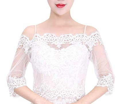 e152373c806445 Wishprom Off Shoulder Ivory Lace Jacket Bolero Wedding Jacket at ...