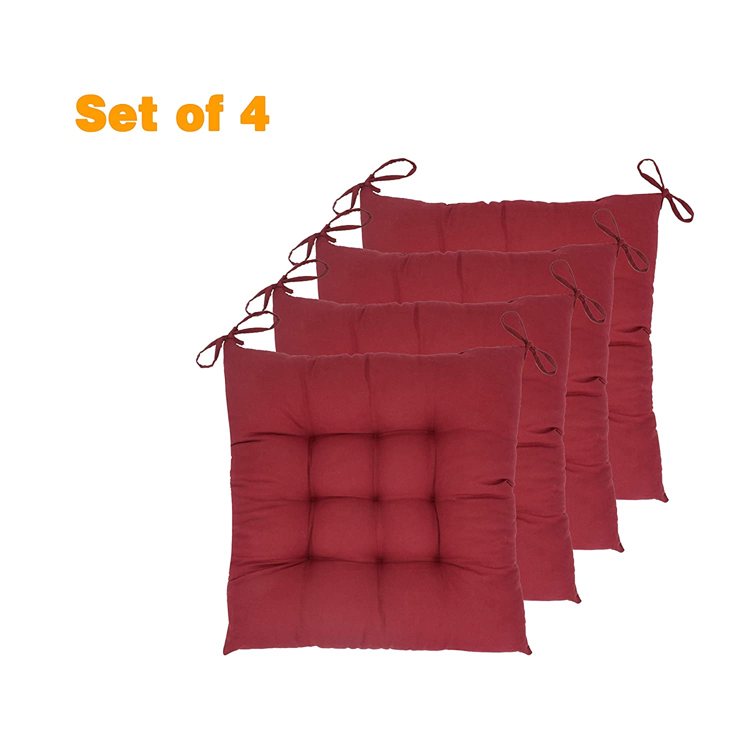"""ELFJOY Set of 4 Solid Square 17"""" x 17"""" Tufted Chair Pads Indoor Seat Cushions Pillows with Ties (Burgundy)"""