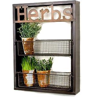 industrial metal country herbs wall shelf planter holder kitchen garden herb organizer - Wall Herb Garden