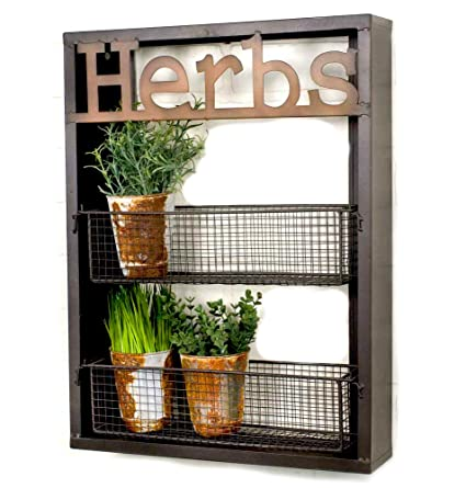 Amazon Com Industrial Metal Country Herbs Wall Shelf Planter Holder