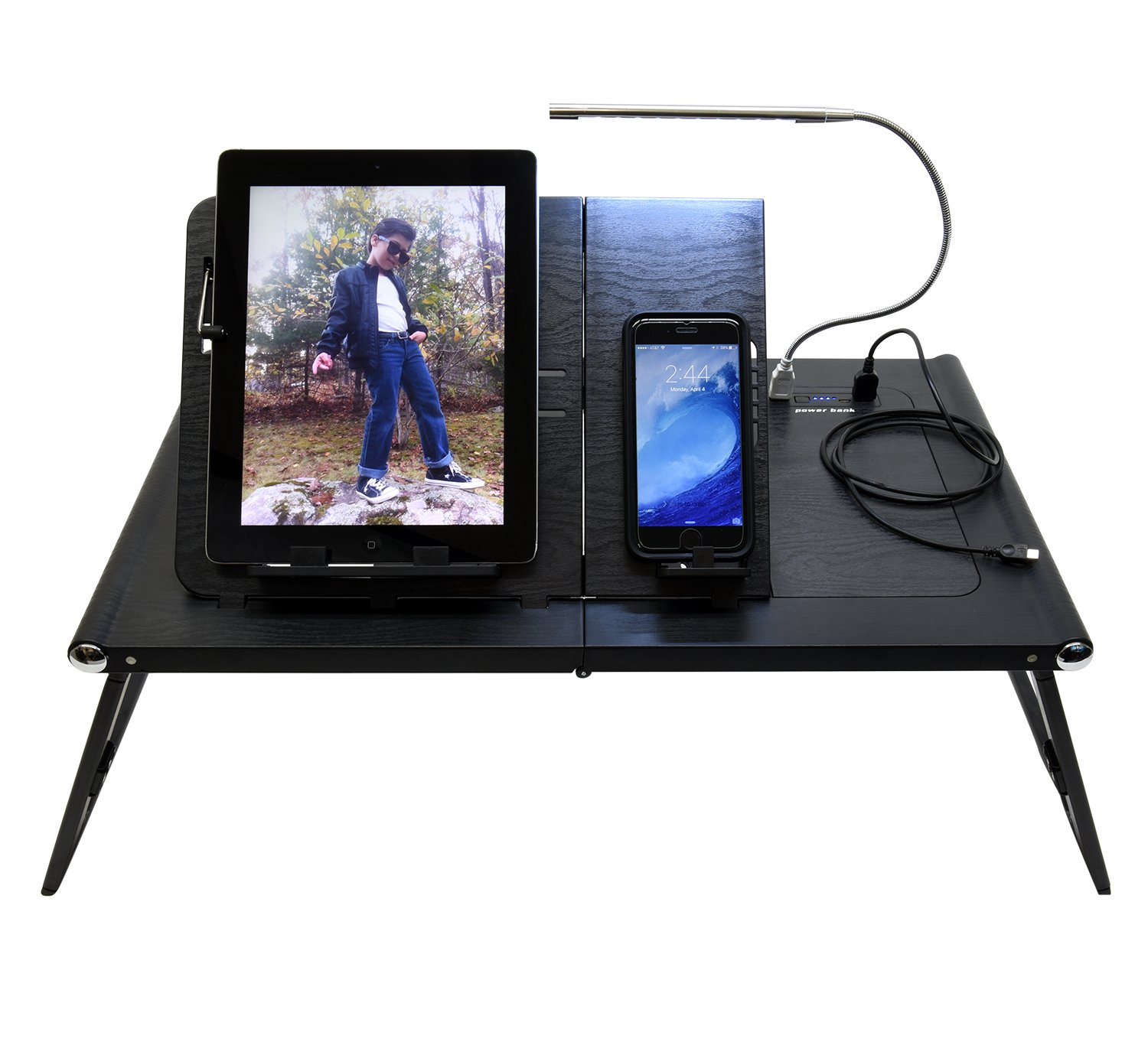 Ivation Adjustable Table, Stand, Standing Desk for Laptop & Tablets Built-In Power Bank 13,200 mAh, Two USB Ports & Reading Lamp included