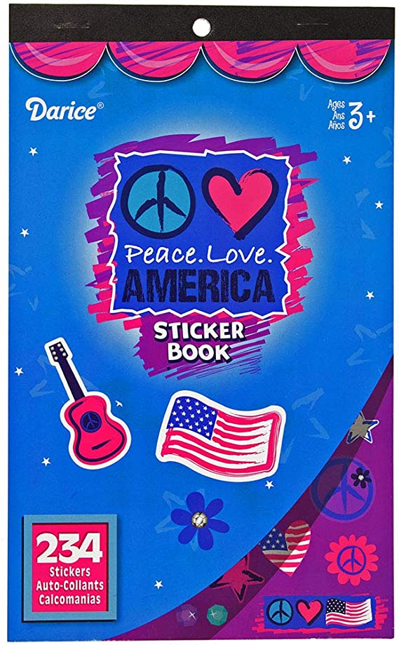 Arts and Crafts at Home Projects Peace Love America - 234 Stickers West Coast Paracord 2 Pack of Patriotic Sticker Books