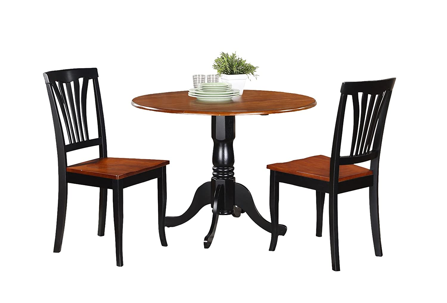 East West Furniture DLAV3-BCH-W 3 Pc Kitchen Nook Dining Set-Kitchen Table and 2 Kitchen Chairs