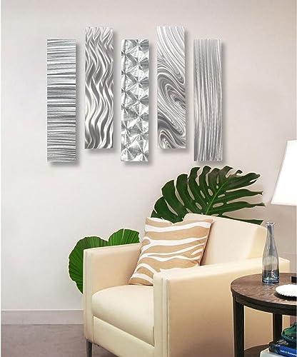 Statements2000 Silver Metal Wall Art Decor, Set of Five 24 x 6 Wall Art Sculptures, Contemporary D cor by Jon Allen Metal Art