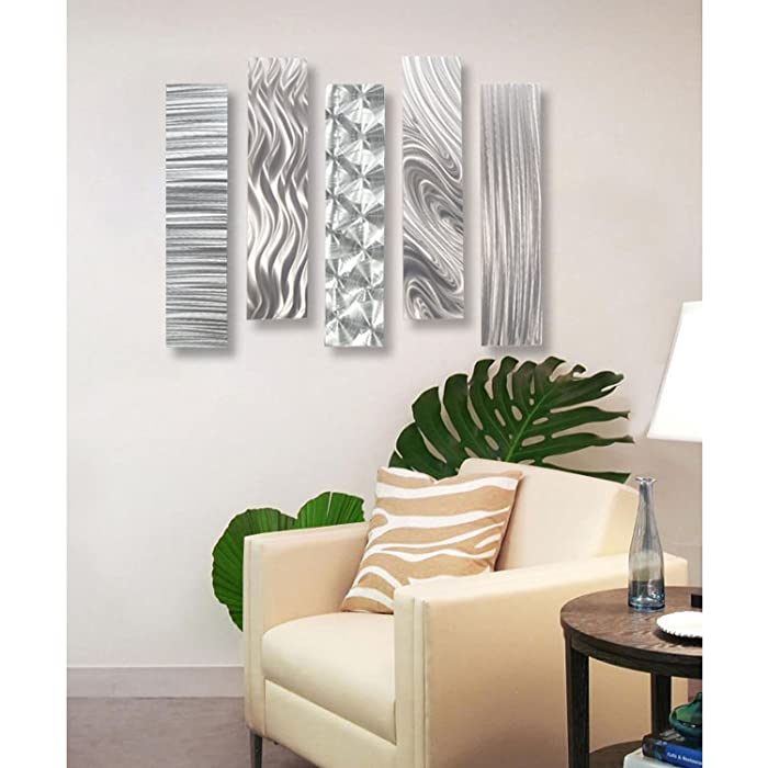 Statements2000 Silver Metal Wall Art Decor, 5 Piece Set of Contemporary Wall Art by Jon Allen Metal Art - 5 Easy Pieces