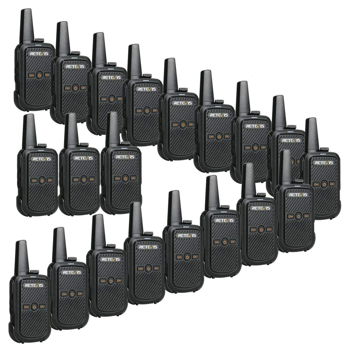 Retevis RT15 Walkie Talkies Small Rechargeable UHF 16 Channel Lock VOX Voice Encryption Security Mini 2 Way Radios Walkie Talkies for Adults 20 Pack