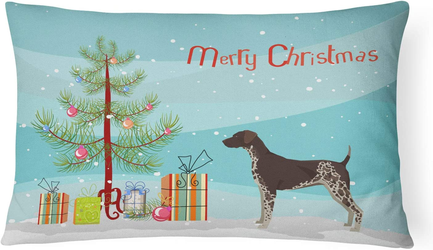 12H x16W Carolines Treasures CK3541PW1216 German Shorthaired Pointer Christmas Tree Canvas Fabric Decorative Pillow Multicolor