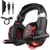 Headset PC,DIZA100 K2 Gaming Kopfhörer für PS4 PC Xbox One,LED Light,Mikrofon,Bass Surround (Rot)