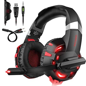 Auriculares para videojuegos para PS4, DIZA100 K2, auriculares estéreo con cable para Xbox One con micrófono LED y control de volumen para ...