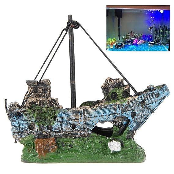 AUOKER Adornos de Acuario para Barco, pecera, naufragio, Decoraciones de plástico para decoración de Acuario, con Orificios para pequeñas Mascotas de ...
