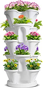 T4U 5 Tier Vertical Garden Plastic Planter, Stackable Strawberry and Herb Pots with Saucer for Vegetable Flower Plants, Self Watering Garden Tower for Indoor Outdoor Balcony Patio Porch, White