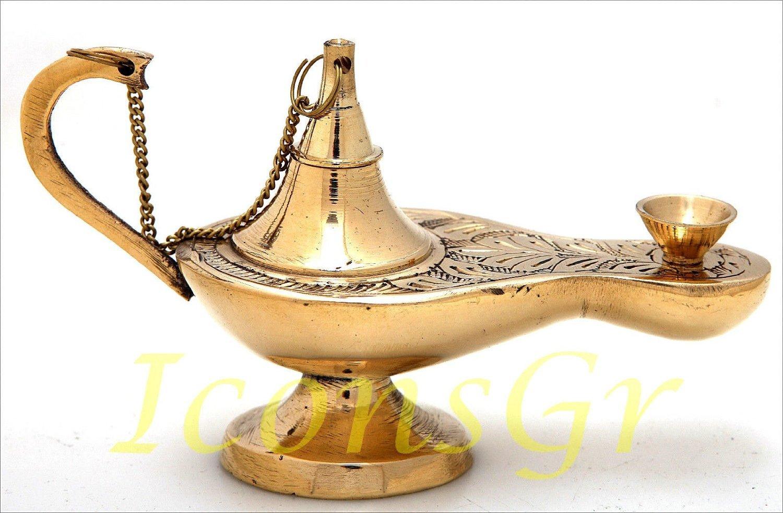 Culte Grecque Chrétienne Orthodoxe Bronze lampe à huile pour les veillees avec coupelle en verre rouge - 373/3 IconsGr