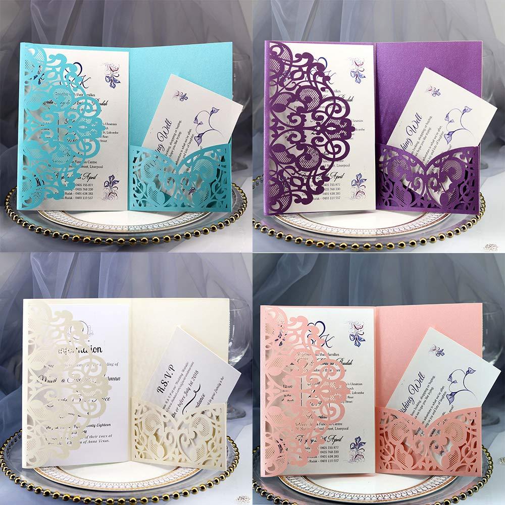 azul lago incluye cubiertas fiestas de compromiso inserciones en blanco 10 piezas de dise/ño floral de corte l/áser invitan a la tarjeta para novias Tarjetas de invitaci/ón de boda