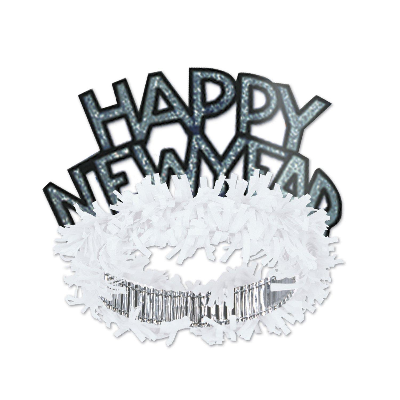 White & Silver HNY Regal Tiara, 50 Tiaras Per Pack by Beistle