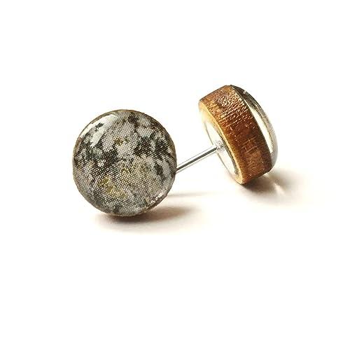 852a4e50c Amazon.com: Handmade gray marble print with small gold flecks wooden stud  earrings 10mm jewelry: Handmade
