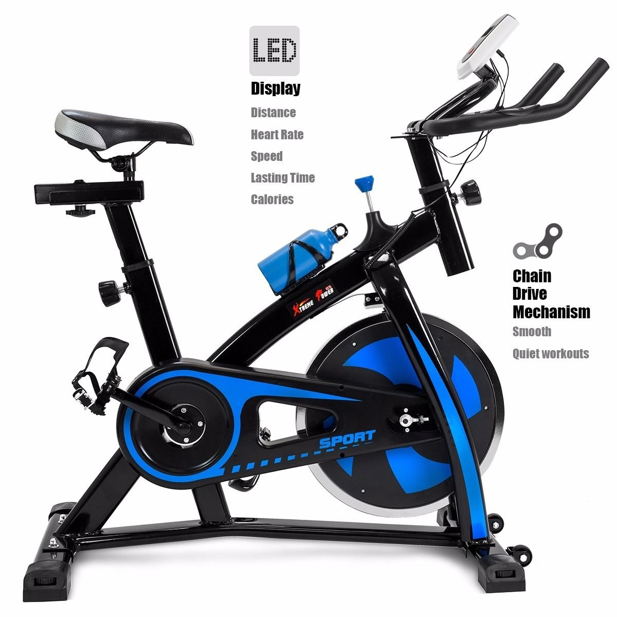 XtremepowerUS Stationary Exercise Bicycle Indoor Cycle Trainer Fitness Bikes Cycling Bottle Holder Heart Pulse (Blue and Black) by XtremepowerUS (Image #1)
