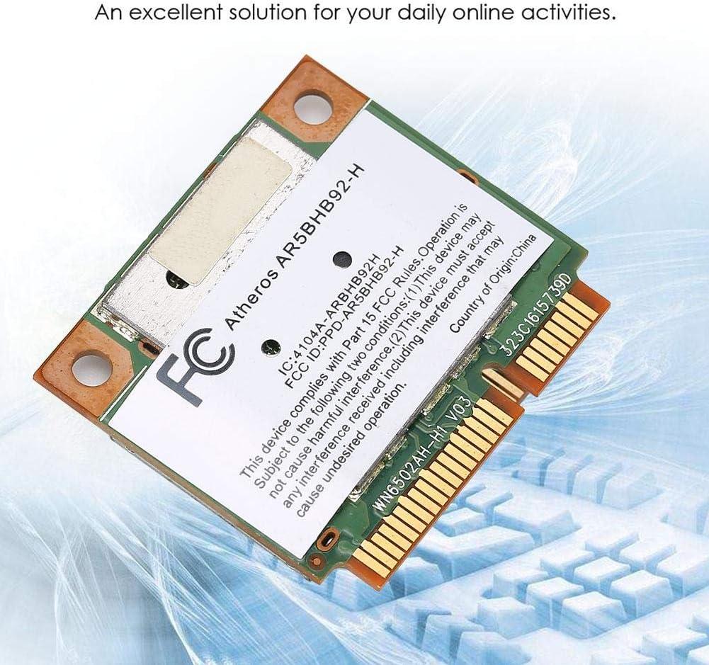 Topiky Tarjeta de Red inal/ámbrica de Banda Dual 5GHz AR5BHB92 Tarjeta de Red WiFi Mini PCI-E Tarjeta inal/ámbrica para Windows para Mac 300Mbps 2.4G