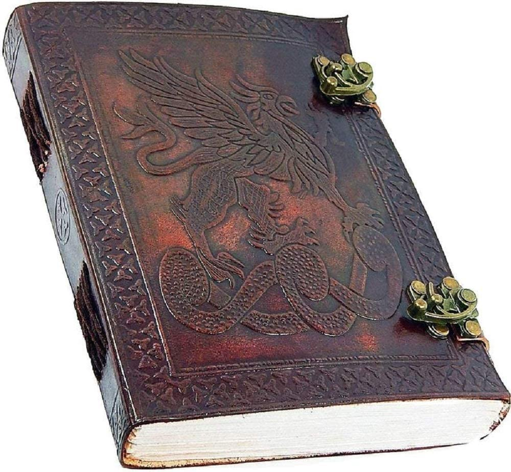 Handmade Large Dragon Embossed Leather Journal Celtic Two latches Blue Stone Blank Personal Diary Notebook refillable