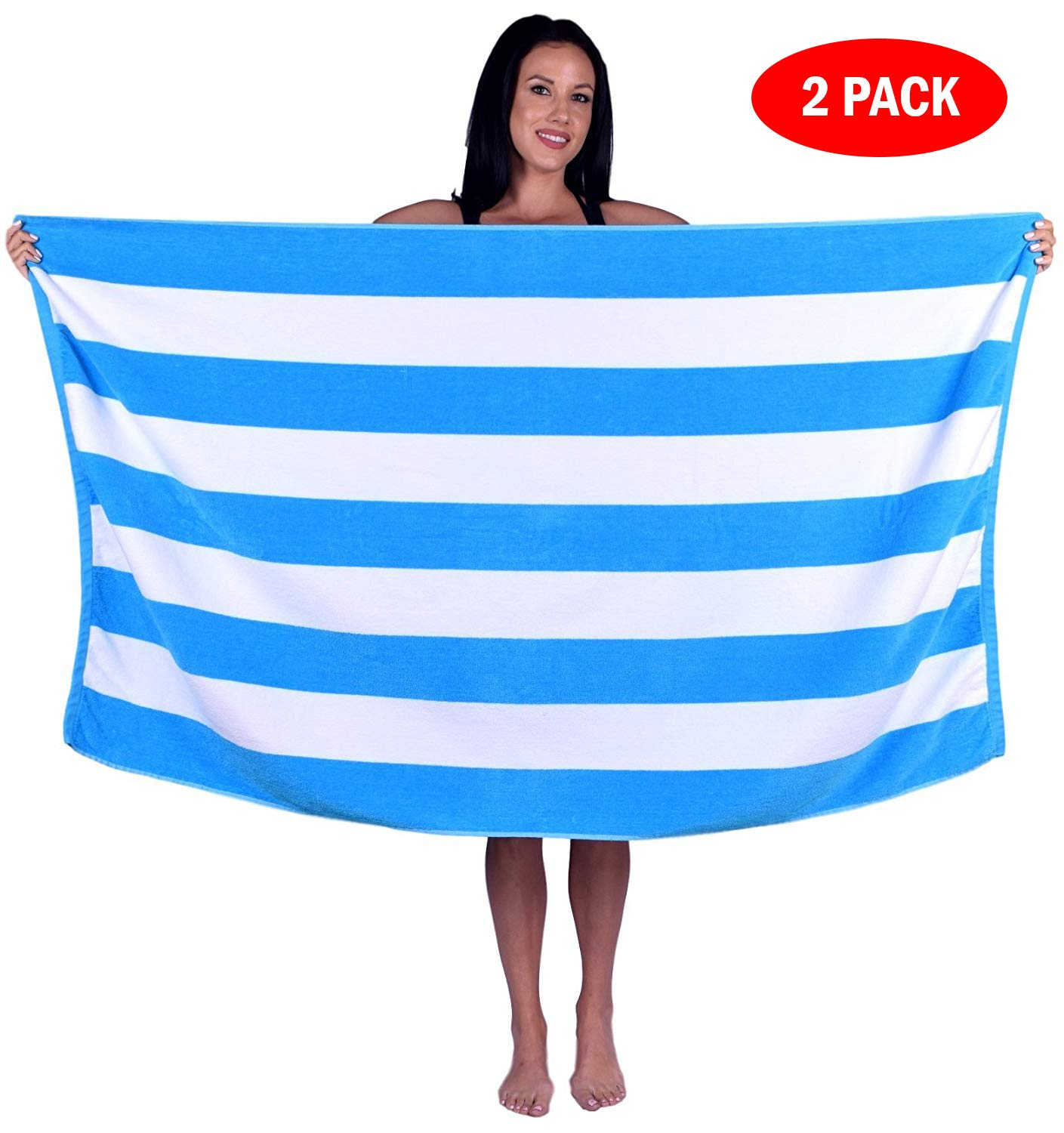 2 Towels, Lime Green 100/% Natural Soft Turkish Cotton Turquoise Textile Cabana Stripe Terry Velour Bath Beach Pool Towel