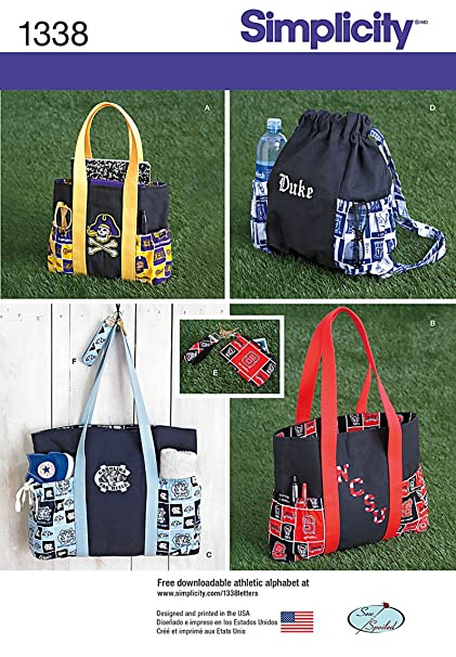 Amazon.com: Simplicity Creative Patterns 1338 Tote Bags in 3 Sizes ...