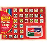 Melissa & Doug Wooden Stamp Set with 26 Wooden Stamps and 4 Colour Stamp Pad, Favourite Things