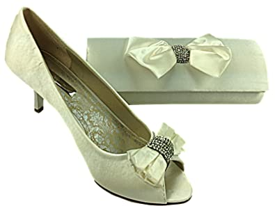 6e12e5e5aca Ladies Occasions Ivory Diana Satin Wedding Brides Shoe kitten Heel Diamante  Bow Evening Sandal With Matching