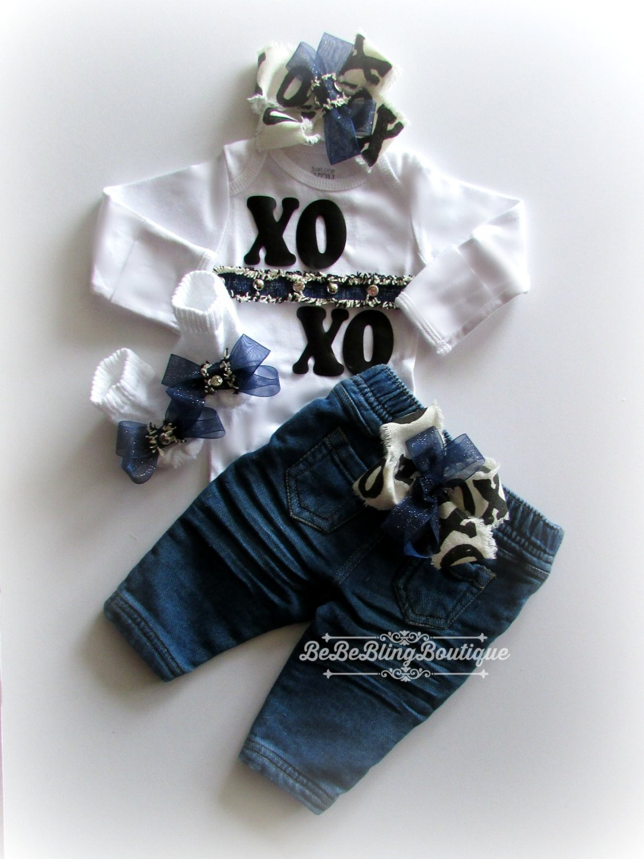 Baby Girl Complete Clothing Set, Denim Baby girl outfit, denim jeans, blue jeans infant girl, take home outfit, take me home outfit, baby girl shower gift set