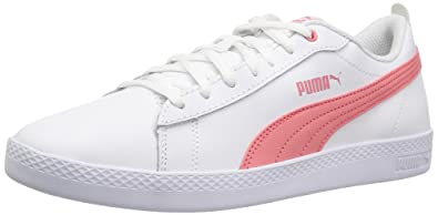 PUMA Women s Smash WNS v2 Leather Sneaker White-Shell Pink b04ec87f5
