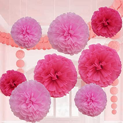 Amazon pink tissue paper flower pom pom balls 12 and 14 inch pink tissue paper flower pom pom balls 12 and 14 inch holiday party favor flower mightylinksfo
