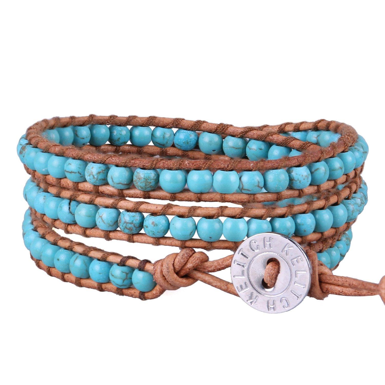 KELITCH Turquoise Beads on Original Leather 3 Wrap Bracelet Handmade New Top Bangle