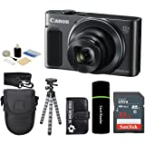 Canon PowerShot SX620 HS 20.2MP Digital Super 25x Optical Zoom Camera (Black) + SanDisk 32GB Card + Case + Tripod - 32GB Deluxe Accessories Bundle