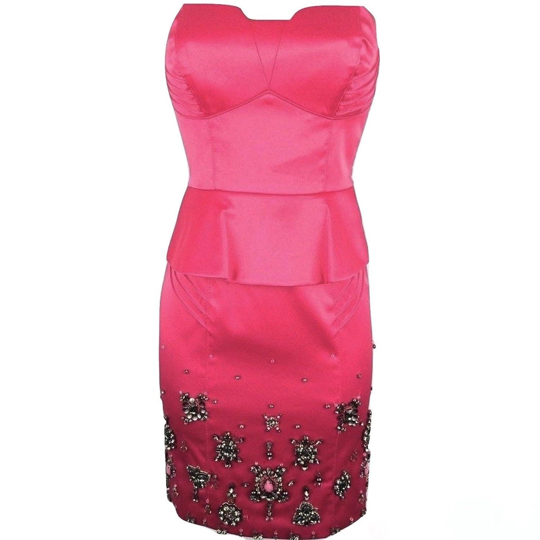 Karen Millen Fuchsia Pink Beaded Corset Peplum Satin Dress