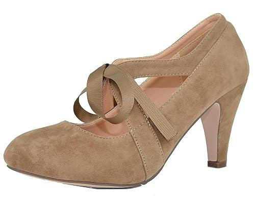 Amazon.com | Chase & Chloe Women's Vintage Bow Mary Jane High Heel Pump |  Pumps