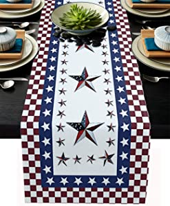 Patriotic Freedom Stars Table Runner Cotton Linen, American Flag Stars Table Linens Non-Slip Runners for Kitchen Party Wedding Home Decor, July 4th Party Independence Day 13x108 inches