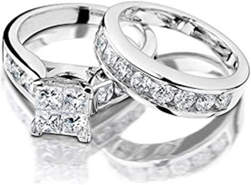 5 cttw 2pc Princess Cut Square Blue CZ Black Gold Wedding Engagement Ring Set