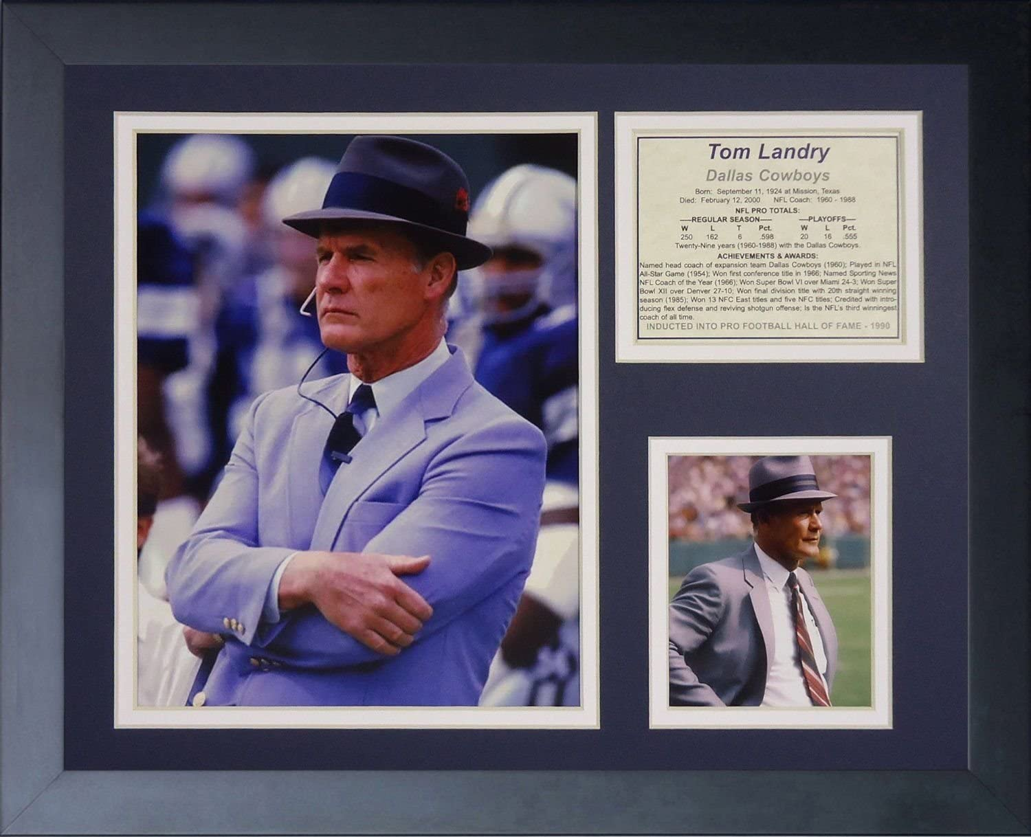 11x14 FRAMED DALLAS COWBOYS TOM LANDRY 8X10 PHOTO AWARDS LIST SUPER BOWL Vich XXII