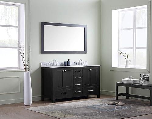 Virtu USA Premium KD-60060-WMSQ-ZG Caroline Avenue Double Bathroom Vanity Cabinet Set