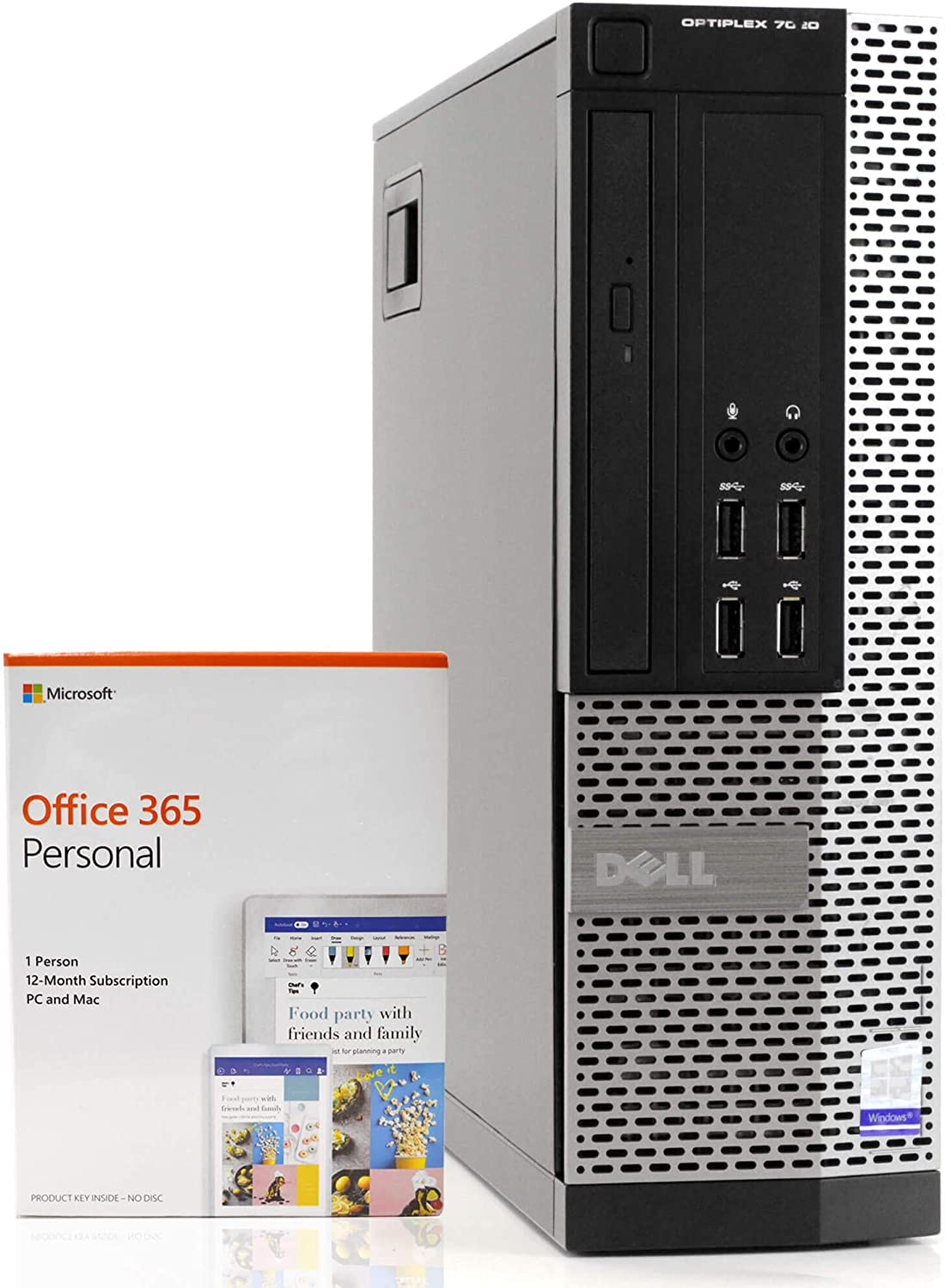 Dell OptiPlex 7020 Small Form Space Saving PC Desktop Computer, Intel i5-4590 3.3GHz, 8GB RAM 500GB Hard Drive, Windows 10 Pro, Microsoft Office 365 Personal, New 16GB Flash Drive, DVD, WiFi (Renewed)