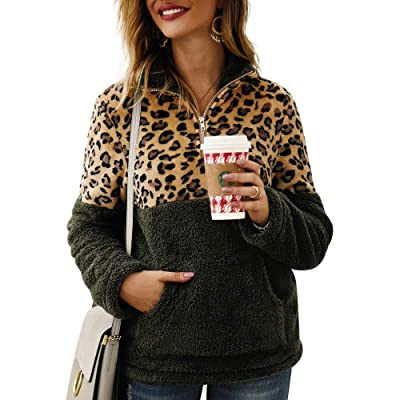ETCYY Women's Leopard Print Fluffy Sherpa Fleece Sweatshirts Zipper Pullover Outwear with Pockets at Women's Coats Shop