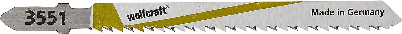 Wolfcraft 2653000 Lot de 5 Lames de scie sauteuse HCS longueur dent/ée//75 mm pas de dents//2,5 mm queue en T