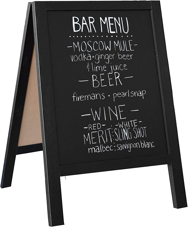 Wooden A-Frame Sign with Eraser & Chalk - Magnetic Sidewalk Chalkboard – Sturdy Freestanding Black Sandwich Board Menu Display for Restaurant, Business or Wedding