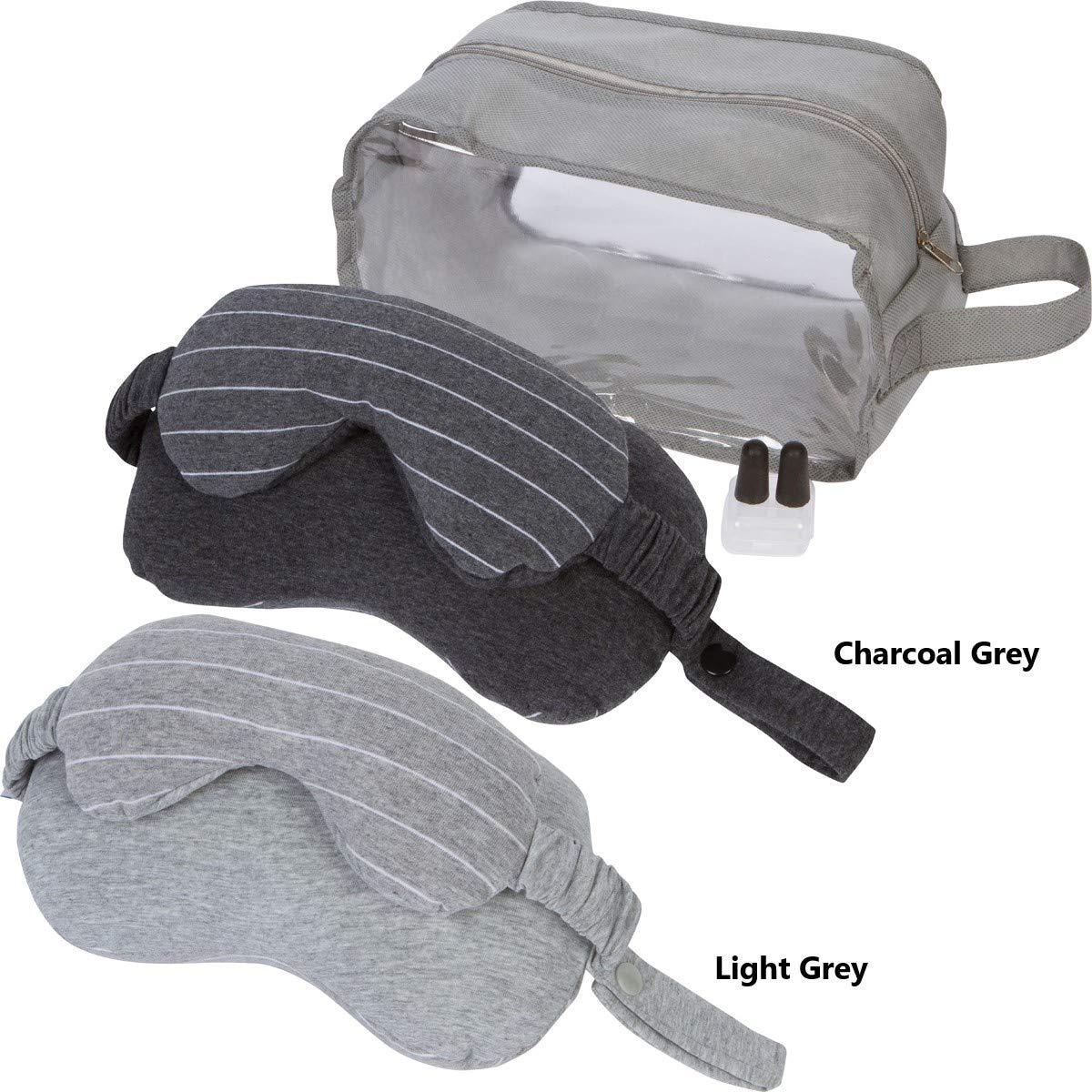 Perennial Products トラベルネックピローセット アイマスク、収納ケース、耳栓付き 車や電車、飛行機でのリラックスした旅に ライトグレーとダークグレー  ダークグレー B07NQLV1NS