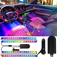 Luces interiores del coche, tiras de luces LED para coche Interior 4 piezas 2 en 1 Control remoto RGB Música Luces LED…
