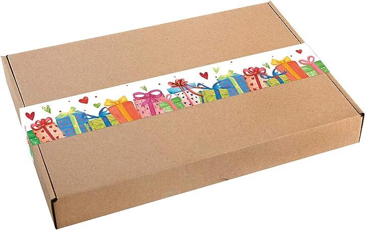 Logbuch-Verlag - Caja de regalo grande de papel de estraza con adhesivo, multicolor, paquete DHL Maxibrief 30,5 x 20,2 x 4,5 cm, caja de regalo de cumpleaños, color marrón natural 5 unidades: